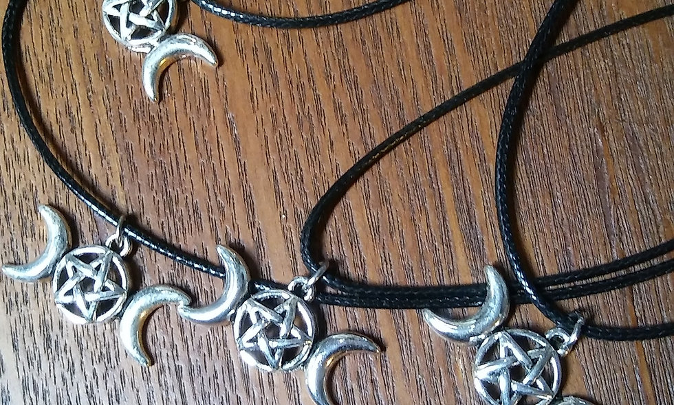 Triple Silver Moon Necklace