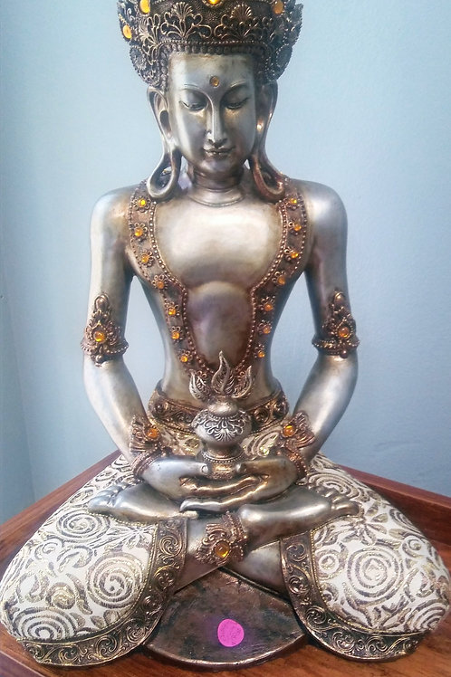 Silver Buddha w/fabric leggings