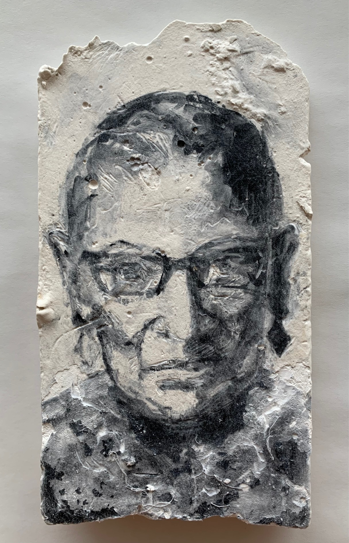 RBG   2021  gouache, cold wax, gauze on
