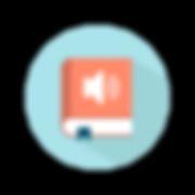Un cercle bleu à l'intérieur duquel on distingue un livre rouge avec un haut parleur sur la couverture