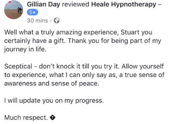 Hypnotherapy testimonial for Weight loss