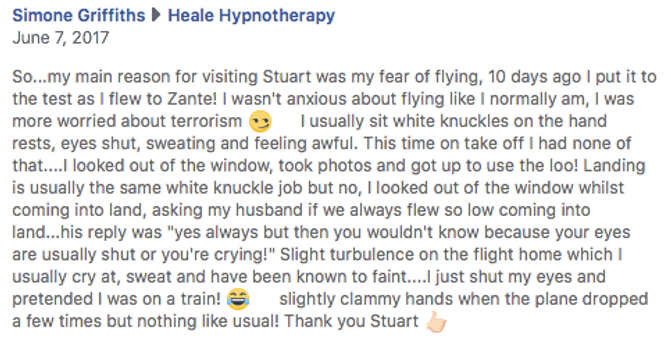 Hypnotherapy testimonial for fear of fly