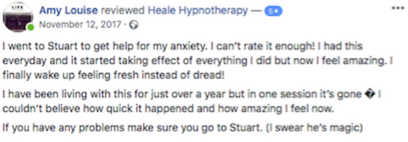 Testimonial hypnotherapy for fear of spi