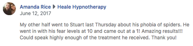 Hypnotherapy testimonial for fear of spi