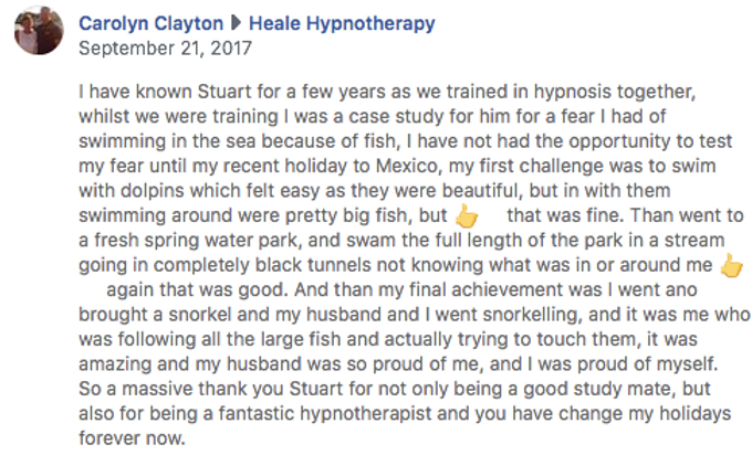 Hypnotherapy testimonial for fear of fis