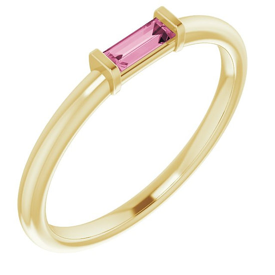 14kt Geel Gouden ring 14K Yellow Pink Tourmaline