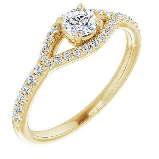 14K Geelgoude Ring 0,60ct diamanten