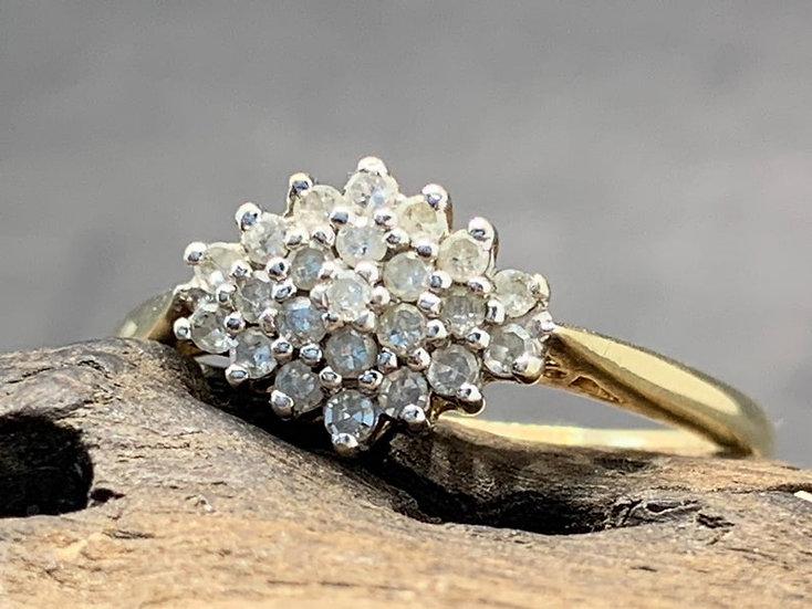 Vintage 9kt Gouden Diamanten Cluster Ring