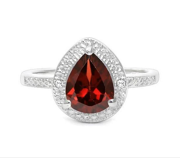 Nieuwe Ring 1.4CT Garnet & Diamond Halo Ring in Sterling Silver