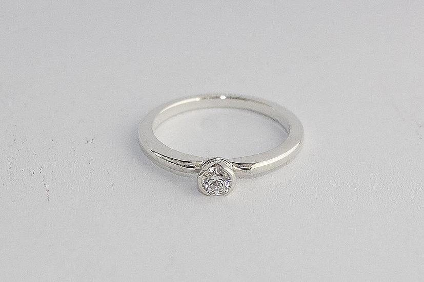 Nieuwe Zilveren Ring met Zirkonia Swarovski 4.1mm