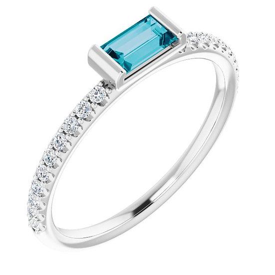 14kt Wit Gouden ring London Blue Topaz & 0,14ct diamanten