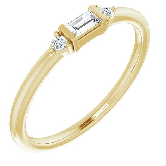 14kt Geel Gouden ring 0,12ct diamanten