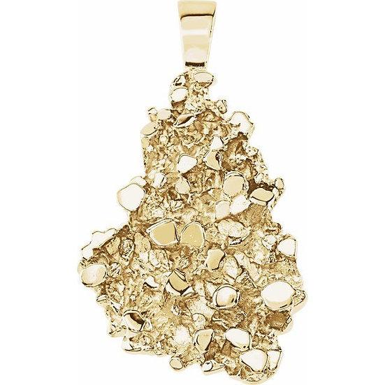 Nugget 14kt geel goud met halsketting