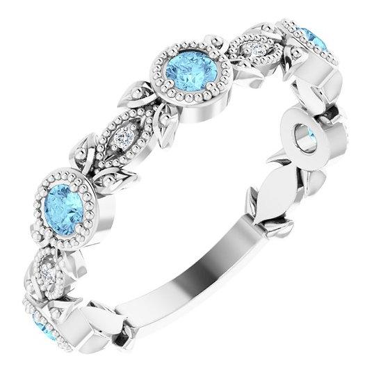 14kt Wit Gouden ring met Aquamarine en diamanten