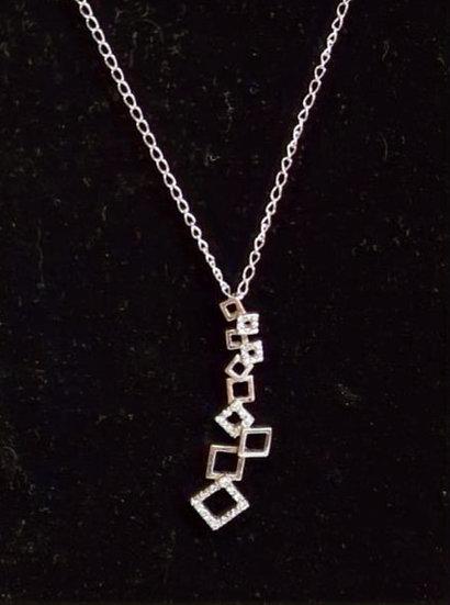 Zilveren Hanger inclusief ketting van 50cm, afgewerkt met Zirkonia,s