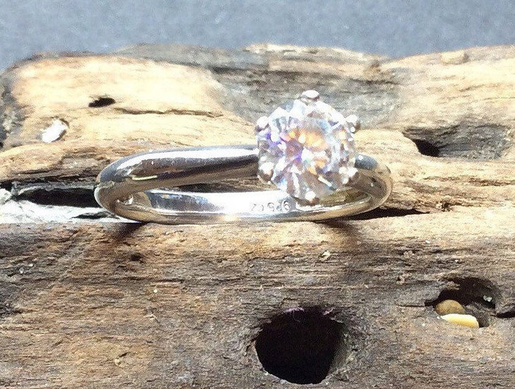 Vintage Sterling Zilver Cubic Zirkonia solitaire 1ct Ring