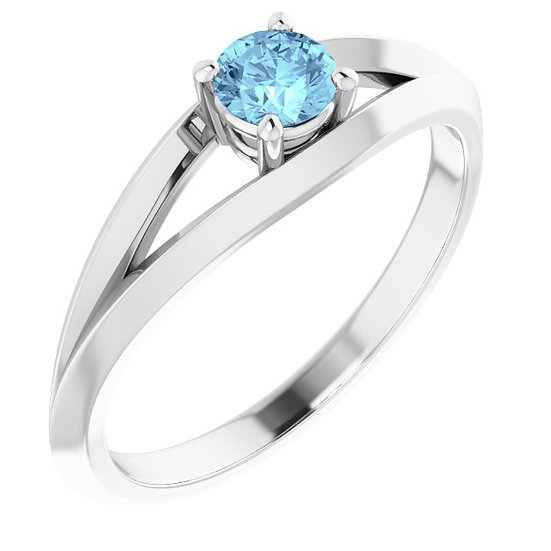 18kt Wit Gouden ring met Aquamarine 0,24ct