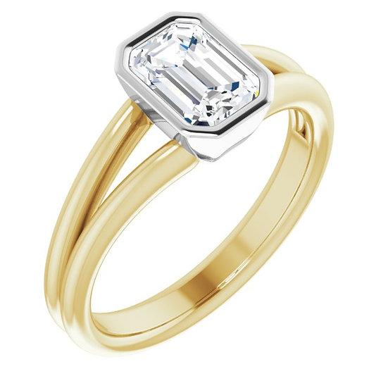 14kt Geel Gouden ring met witte Saffier 1.1ct