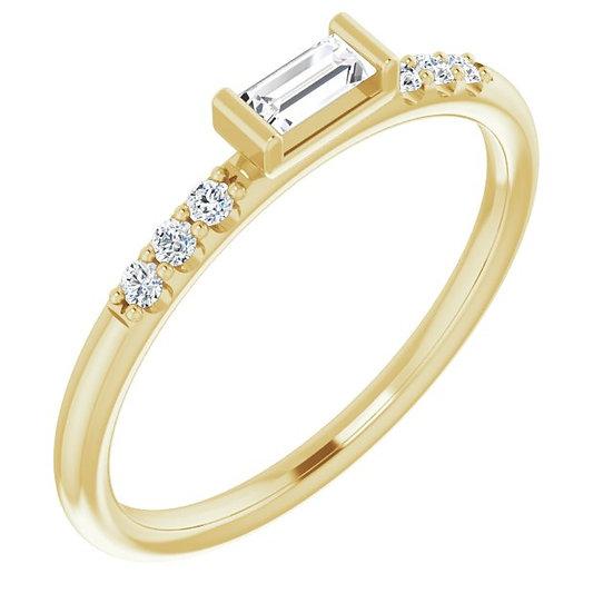 14kt Geel Gouden ring 0,20ct diamanten