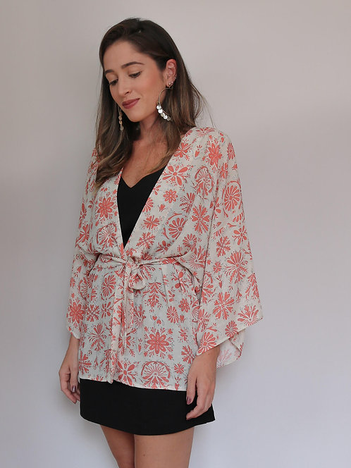 Kimono Guadalajara Bege/Vermelho