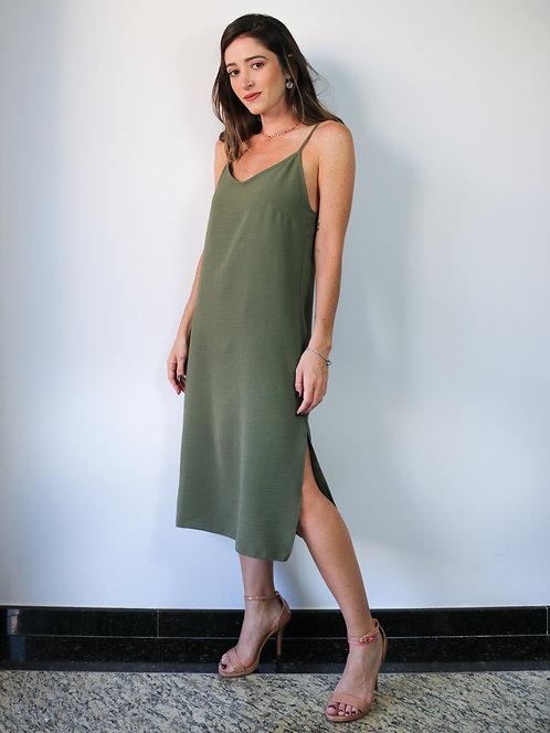 Vestido Midi Isabel Verde Militar