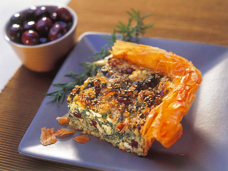 Open-Top Spinach Pie With Olives & Sesame