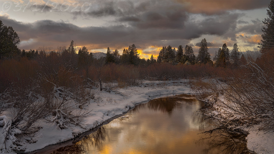 Upper Truckee River sunset after the storm