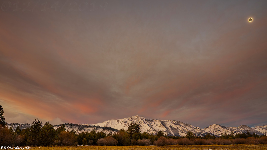 Mount Tallac sunrise mooned after the storm