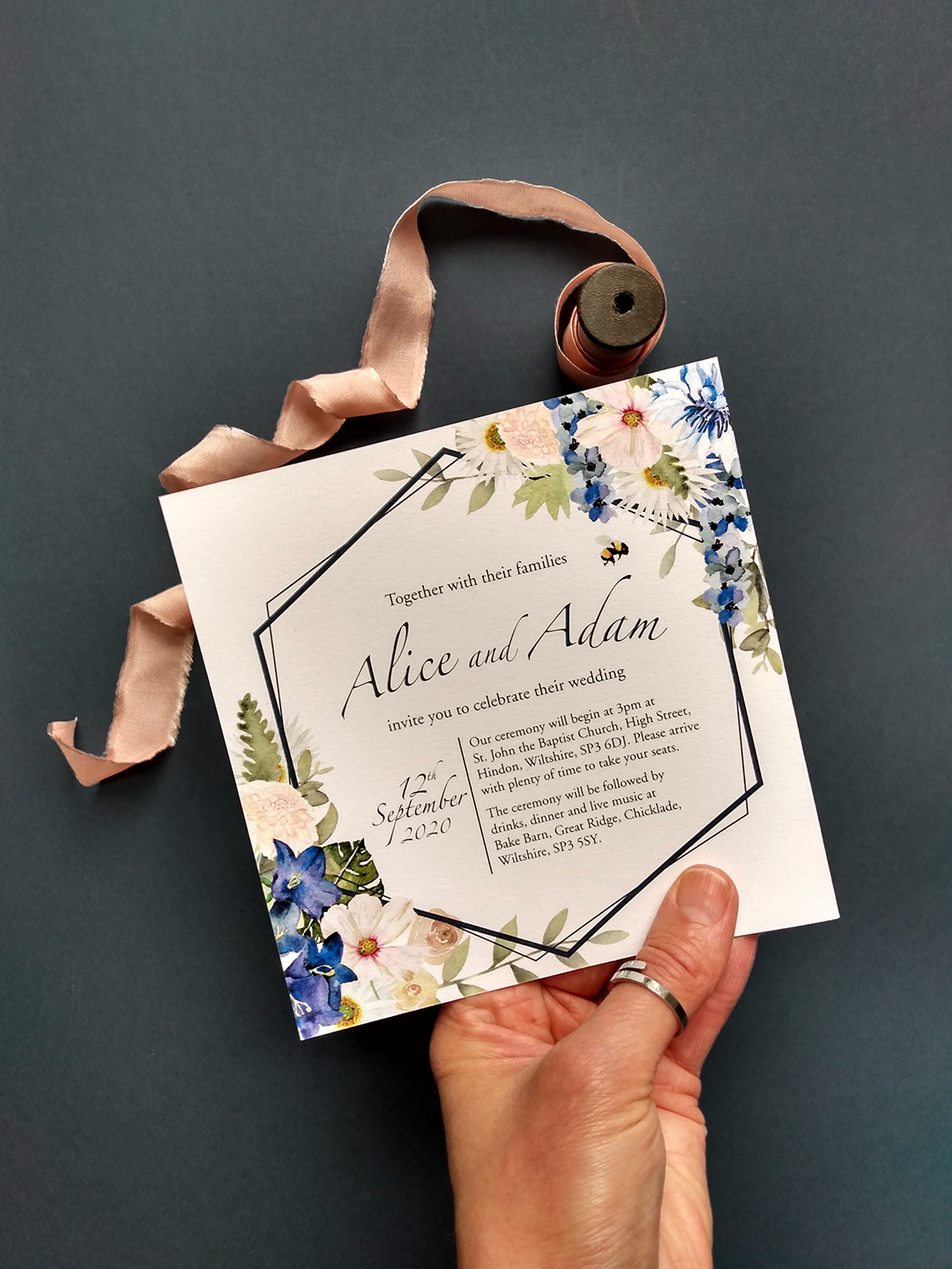 Hand Painted Watercolour Invitation