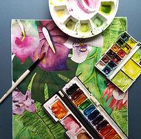 Jungle fun watercolour leaves exotic col