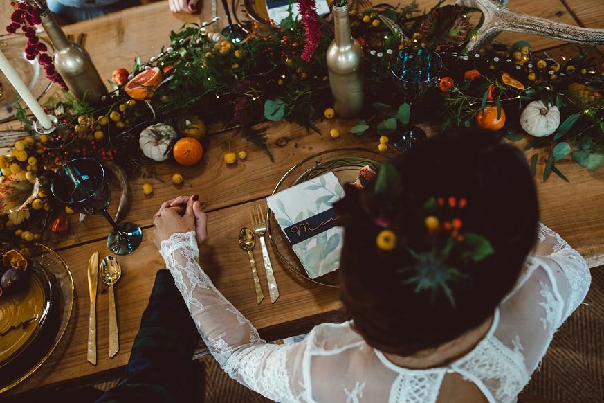 Watercolur rustic wedding menu