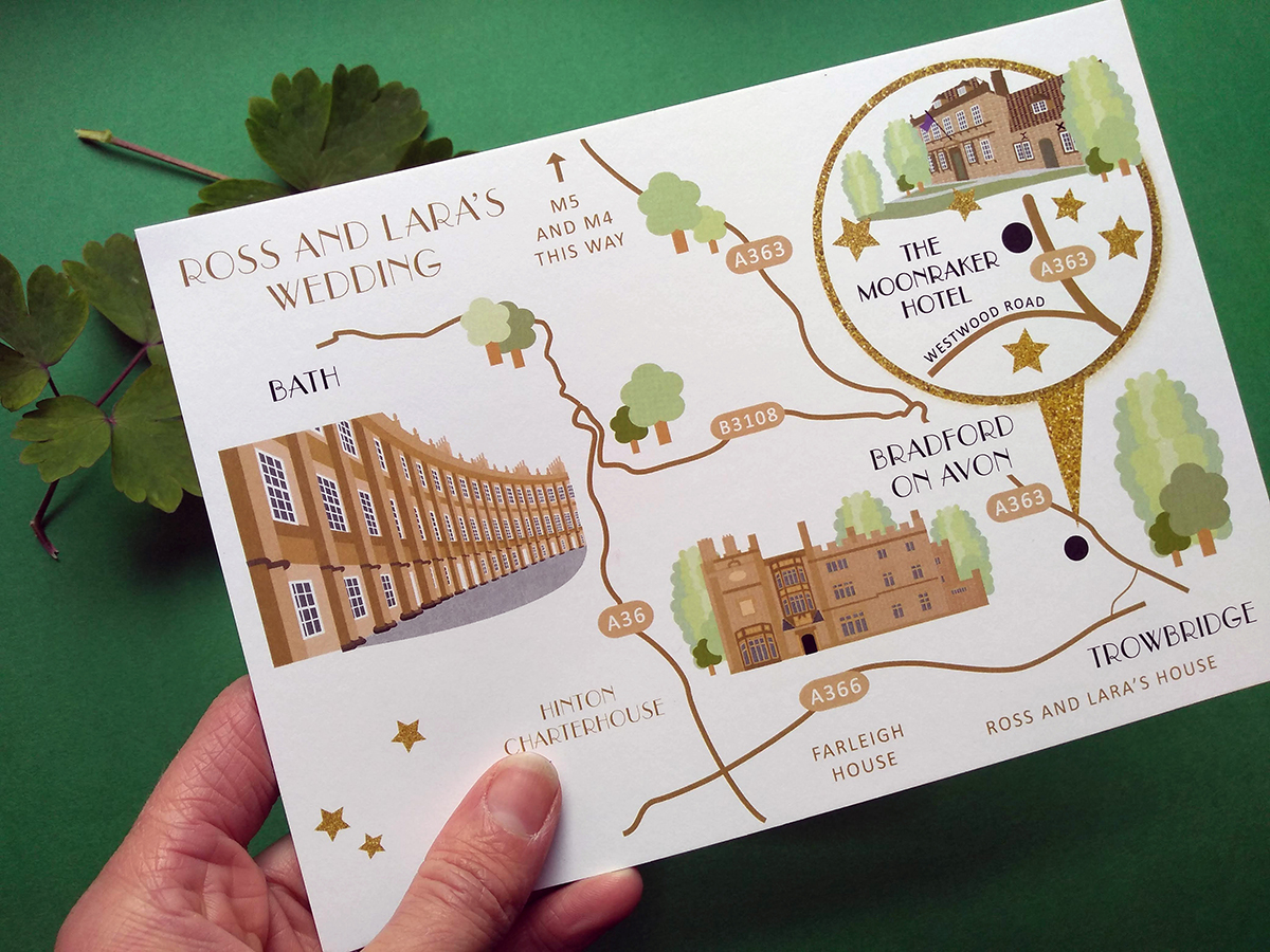 Wedding Map to The Moonranker Hotel, Bradford on  Avon