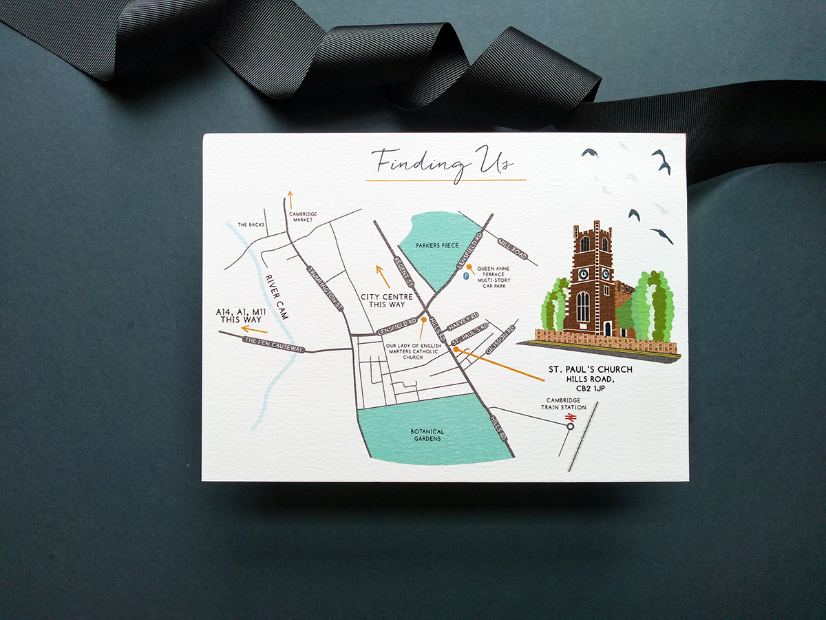 Wedding Map to St Paul's Church, Cambridge