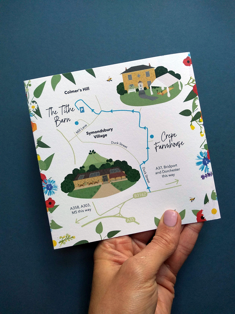 Wedding Map to The Tithe Barn, Symondsbury