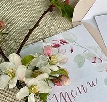 Menu blossom watercolour wedding food budget design somerset wiltshire somerset cornwall d