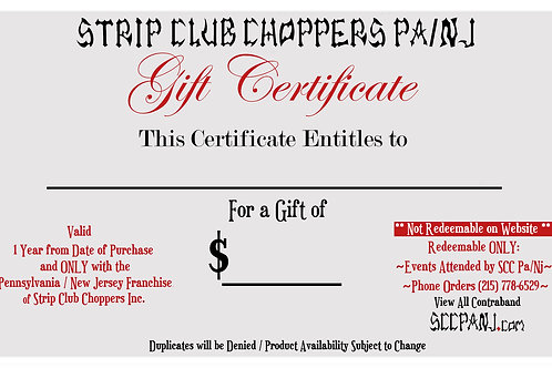 Gift Certificate SCC Pa/Nj