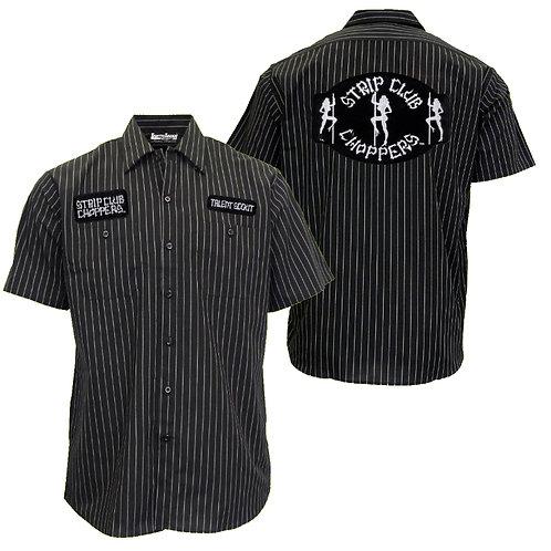 Men's Pinstriped SCC Mechanic-Style Shop Shirt
