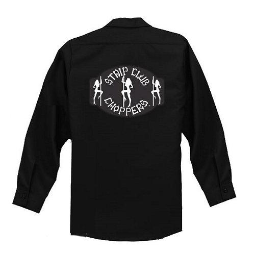Men's SCC Long Sleeve Black Mechanic Style Shop Shirt
