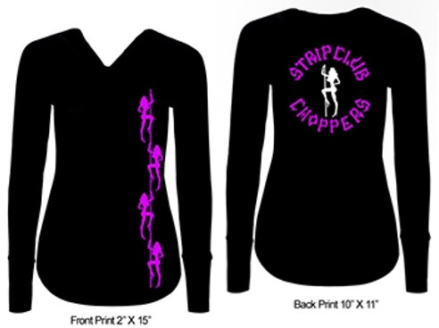 Women's Strip Club Choppers Ladies V-Neck Long Sleeve
