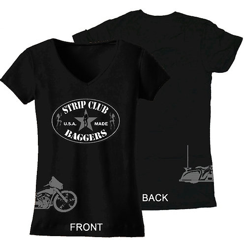 Women's V-Neck Black + Gray SCB Side-Printed Tee Bagger Theme