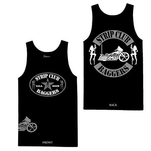 Men's SCB Side-Printed Bagger Theme Tank in Black