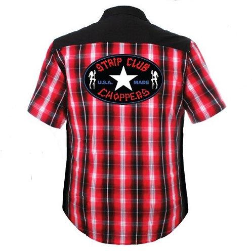 Men's SCC Red/Black/White Plaid Mechanic Style Shop Shirt