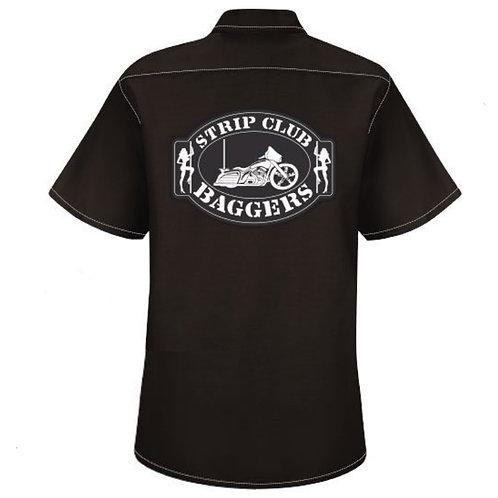Strip Club Baggers Ladies Black Mechanic Style Shop Shirt