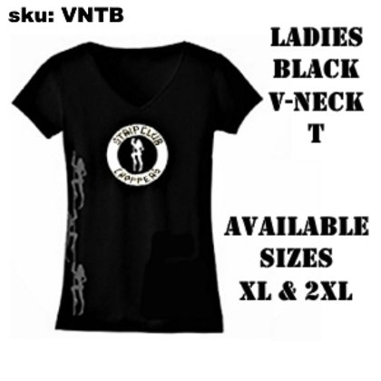 Women's Black V-Neck T with Round Logo