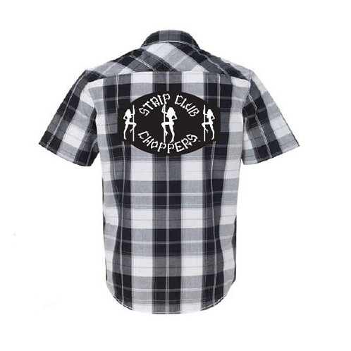 Men's SCC Old Style Black/White Plaid Mechanic Style Shop Shirt