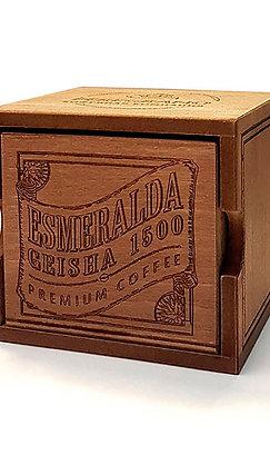 Кофе Эсмеральда Гейша 1500, в зернах, средняя обжарка, в деревянной шкатулке