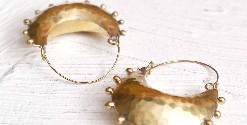 Handmade Hebba Crescent Hoop Earrings