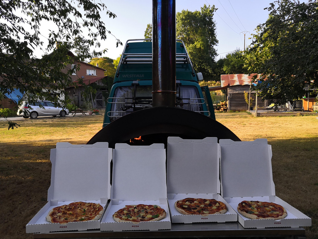 Mobile wood-fired pizza van