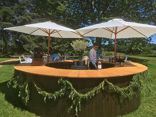 A beautiful, chestnut clad, mobile bar available to hire as a dry bar or fully stocked.