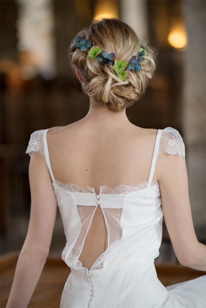 Romantic Bridal low updo blonde hair